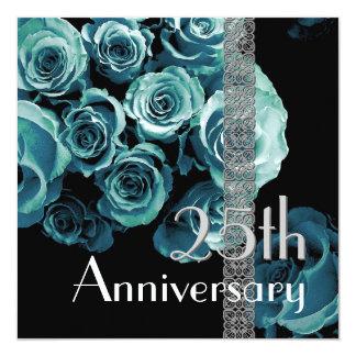 25to Rosas del AZUL de la AGUAMARINA de la Invitación 13,3 Cm X 13,3cm