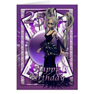 25to Tarjeta de cumpleaños con la muñeca gótica, t