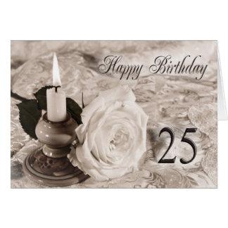 25to Tarjeta de cumpleaños con un color de rosa