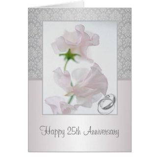 25to Tarjeta del aniversario. Flores, anillos,