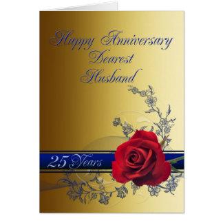25to Tarjeta del aniversario para el marido con un