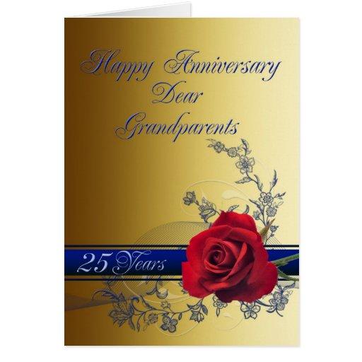 25to Tarjeta del aniversario para los abuelos