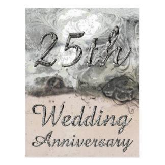 25to Tipografía de plata elegante del aniversario Postal
