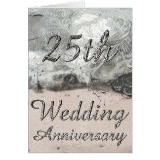 25to Tipografía de plata elegante del aniversario Tarjeta De Felicitación