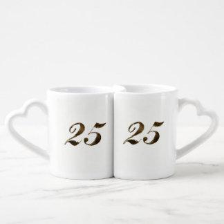 25to Tipografía del aniversario de bodas de plata Set De Tazas De Café