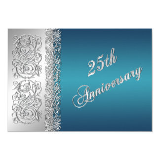 25to Volutas de plata adornadas del aniversario Invitación 12,7 X 17,8 Cm