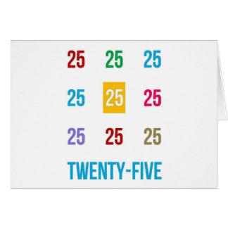25tos 25 vigésimos quintos REGALOS del aniversario Tarjeta De Felicitación