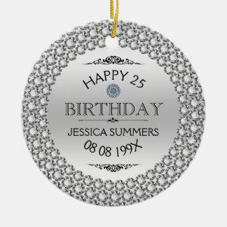 25tos diamantes y plata felices del cumpleaños adorno navideño redondo de cerámica