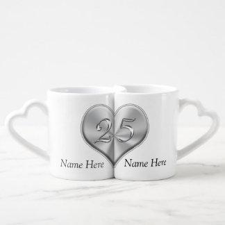 25tos regalos personalizados del aniversario de set de tazas de café