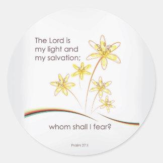 27:1 del salmo el señor es mi luz y mi salvación pegatina redonda