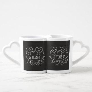 27mo Corazones de la tiza del regalo del Set De Tazas De Café