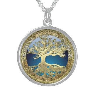 [28] Árbol de la vida céltico de oro Collar De Plata De Ley