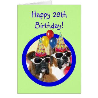28vos cuartos perros del boxeador del feliz cumple tarjeta de felicitación