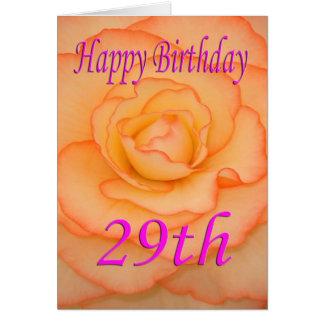 29na flor feliz del cumpleaños tarjeta de felicitación