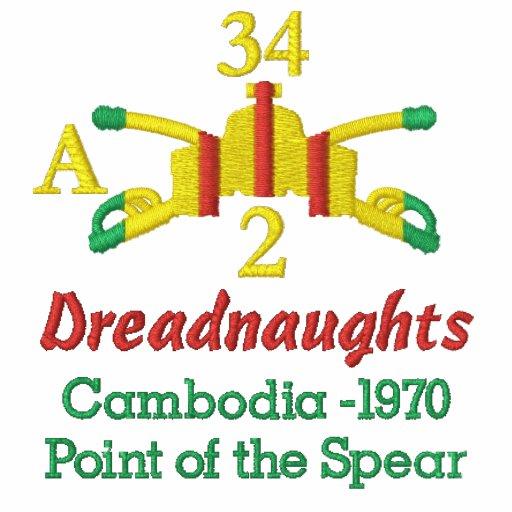 2/34o Camisa bordada Camboya de Vietnam de la arma