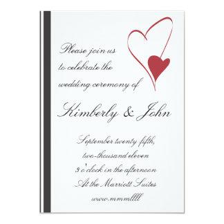 2 corazones chocan invitación del boda