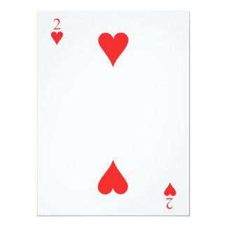 2 de corazones invitación 16,5 x 22,2 cm