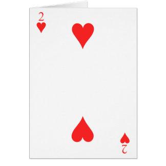 2 de corazones tarjeta de felicitación
