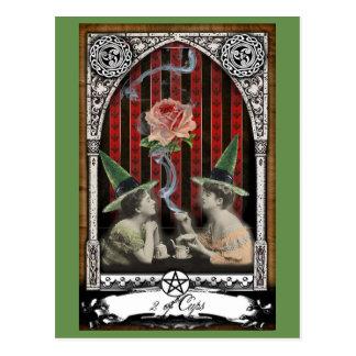 2 de la postal de Tarot de la bruja del Victorian