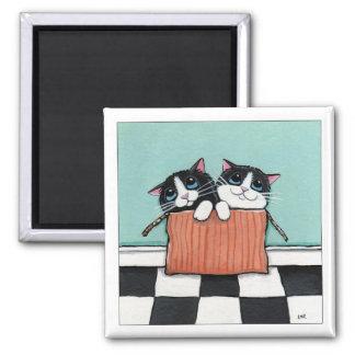 Imán 2 gatos del smoking en un imán del arte del gato