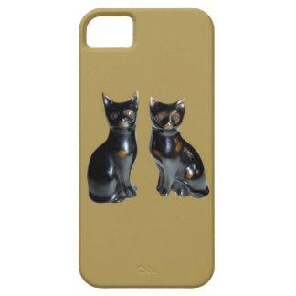 2 GATOS negros - estatua del mascota iPhone 5 Cárcasa