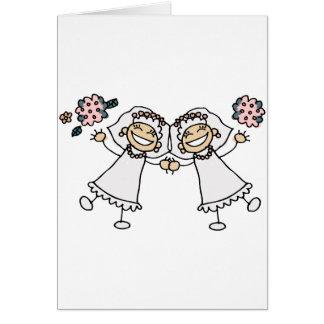 2 novias tarjeta de felicitación