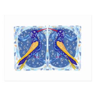 2 pájaros azules postal