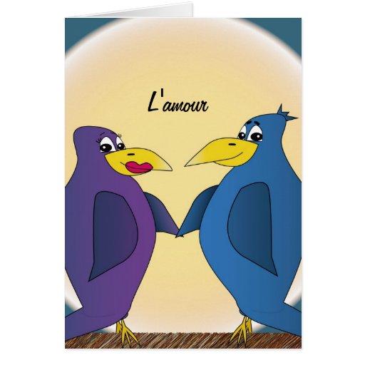 2 pájaros divertidos del amor delante de una Luna  Tarjeta