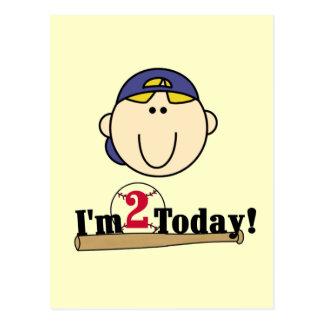2das camisetas del cumpleaños del béisbol rubio de tarjeta postal
