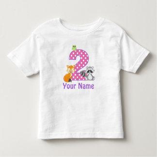 2do Animal del arbolado del chica del cumpleaños Camiseta De Bebé