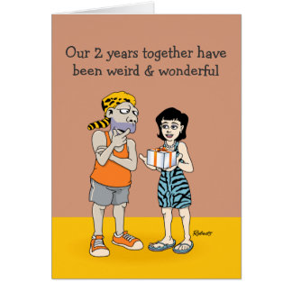 2do aniversario divertido: Extraño y maravilloso Tarjeta De Felicitación