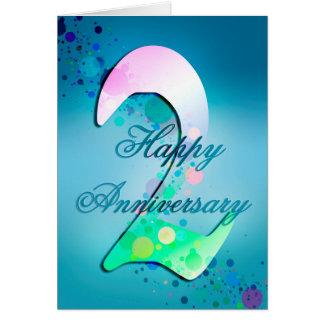 2do aniversario feliz (tarjeta del aniversario) tarjeta de felicitación