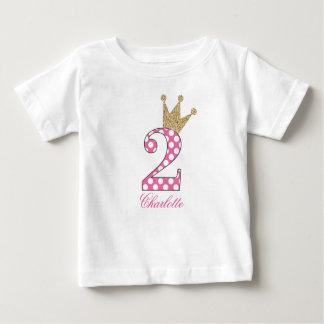 2do Birthday|Polka Dots|Glitter-Print Camiseta De Bebé