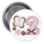 2do botón del cumpleaños de la mariposa rosada pin