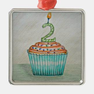 2do cumpleaños adorno cuadrado plateado
