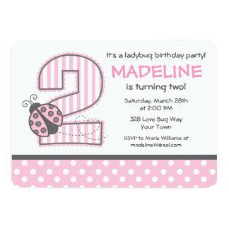 2do cumpleaños de la mariquita rosada invitación 12,7 x 17,8 cm