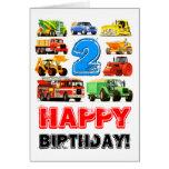 2do cumpleaños de los camiones grandes felicitación