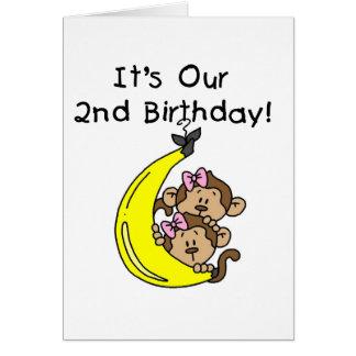 2do cumpleaños de los chicas de los monos gemelos  tarjeta de felicitación