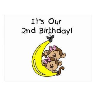 2do cumpleaños de los chicas de los monos gemelos postal