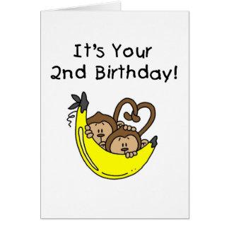 2do cumpleaños de los monos gemelos del muchacho tarjeta