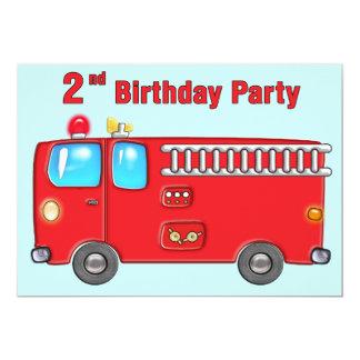 2do cumpleaños del coche de bomberos fabuloso invitación 12,7 x 17,8 cm