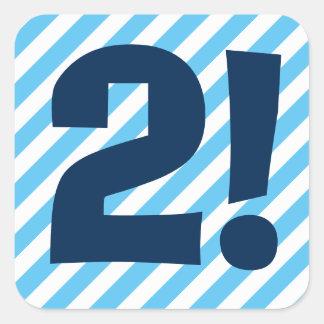 2do Cumpleaños rayas azules 2 años A03B Pegatina Cuadrada