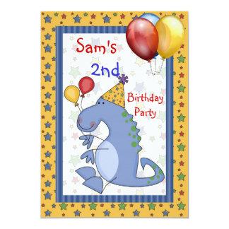 2do El globo del dinosaurio del cumpleaños Invitación 12,7 X 17,8 Cm