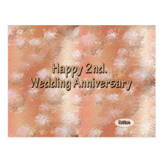 2do feliz. Algodón del aniversario de boda Tarjetas Postales