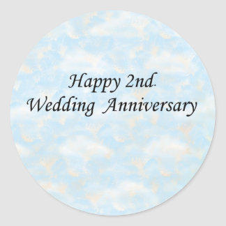 2do feliz Aniversario de boda Etiquetas Redondas