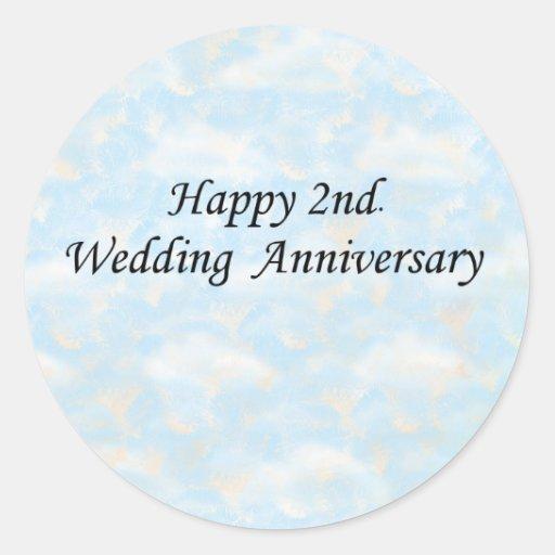 2do feliz. Aniversario de boda Etiquetas Redondas