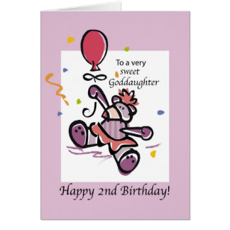 2do globo del oso del cumpleaños de la ahijada tarjeta de felicitación