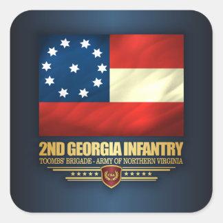 2do Infantería de Georgia Pegatina Cuadrada