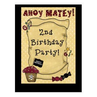 2do Invitaciones del cumpleaños del pirata Postal
