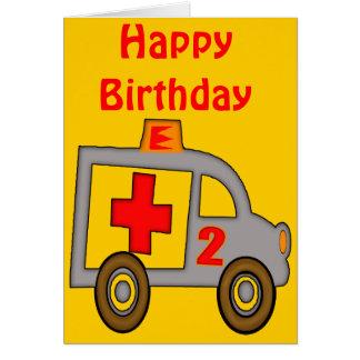 2dos regalos de cumpleaños de la ambulancia tarjeta de felicitación